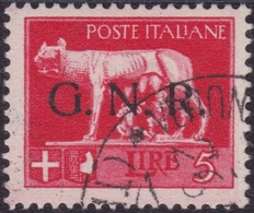 "Repubblica Sociale - 191 - 1944 - L. 5 Rosso Con Soprastampa ""GNR"" Di Verona N. 485. Cat. € 120,00 - 1944-45 République Sociale"