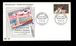 """FDC Enveloppe Du 14 Décembre 1963 à Paris """" Philatec """" - 1960-1969"""