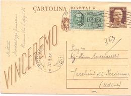 INTERO POSTALE STATIONERY 1943 VINCEREMO ESPRESSO     (FEB200248) - 4. 1944-45 Repubblica Sociale