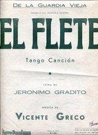 EL FLETE TANGO CANCION LETRA DE JERONIMO GRADITO MUSICA DE VICENTE GRECO PARTITURA - NTVG. - Partituras