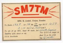 Sweden Stockholm Eksjoe   - CB RADIO - Radioamatore - Radioamateur - QSL - Short Wave - Carte QSL