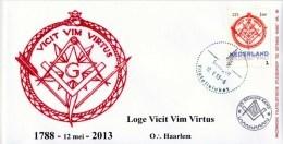 Masonic FDC Maçonnique: Nederland - Loge Vicit Vim Virtus O:. Haarlem (Vrijmetselarij - Freemasonry - Freimaurerei) - Franc-Maçonnerie