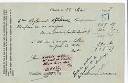 FRANCE :  Timbre Fiscal Quittance 10c Sur Carte Commerciale D'Olivet De 1908 - Poststempel (Briefe)