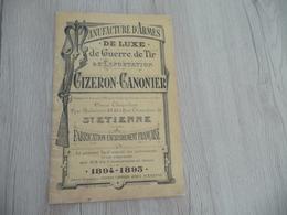 Catalogue Pub Publicitaire + Additif Manufacture D'Armes De Guerre De Tir Gizeron Canonier 1894/1895 Saint Etienne - Advertising