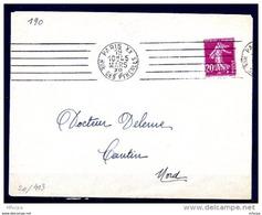 Lil3396 PARIS XX RUE DES PYRENEES RBV A20301 6 L.D. Inégales BD 4 L /Lette 19/03/38 - Marcophilie (Lettres)