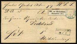 BRAUNSCHWEIG 1867, POSTBEGLEITBRIEF MIT TAXQUADRAD AUS WOLFENBÜTTEL+AUSGELIEFERT - Allemagne
