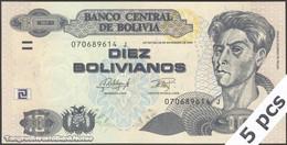 TWN - BOLIVIA 243 - 10 Bolivianos 28.11.1986 (2015) DEALERS LOT X 5 - Serie J - Printer: OF UNC - Bolivia