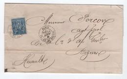 """1881 - ENVELOPPE Avec CACHET D'ESSAI PERLE """"PARIS PL. DE LA BOURSE"""" Sur SAGE Pour BEZIERS (HERAULT) - 1877-1920: Periodo Semi Moderno"""
