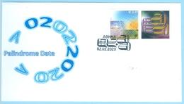 02-02-2020 Mathematics Palindrome Date Mathematik Zahlenpalindrom Nombre Palindrome Greece Grèce Griechenland Grecia FDC - Greece