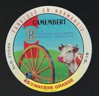 """étiquette Fromage  Camembert Fabriqué En Normandie Riches-monts 45%mg Orne 61G """" Vache Roue"""" - Cheese"""