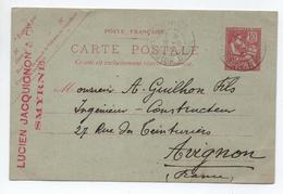 1913 - ENTIER POSTAL MOUCHON De SMYRNE (LEVANT) - BE BUREAU FRANCAIS A L'ETRANGER - Covers & Documents
