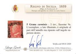 ANTICHI STATI SICILIA 1859 5 GR CARMINIO I TAV SASONE 9a CV 1400 PERIZIATO LUIGI GUIDO - Sicilia