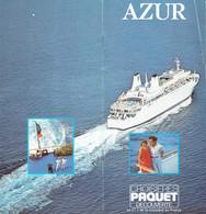 Croisières Paquet : Livret De Présentation Du Paquebot Azur (24 Pages, Format 10 X 21 Cm) - Voyages