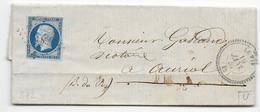 BOUCHES DU RHONE - 1857 - LETTRE De LE PIN Avec T22 + PC 3838 - IND 15 => AURIOL - Postmark Collection (Covers)