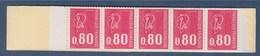 = Marianne De Béquet Carnet Ouvert 10 Timbres N°1816-C2 Avec 3 Bandes Phosphorescentes Code Postal - Definitives