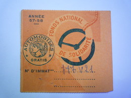 GP 2020 - 2286  VIGNETTE AUTOMOBILE  GRATIS  Année 57-58   XXXX - Revenue Stamps