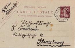 Alsace Lorraine Cachet Hexagonal Bennwihr-Mittelwihr Sur Entier Postal De 1922 Pour Strasbourg - Marcophilie (Lettres)