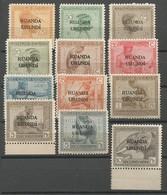 Ruanda Urundi COB 50/61 Série Complète  NSC / MNH / * * 1924 Type Vloors Congo Belge Surchargés - Ruanda-Urundi