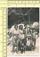 REAL PHOTO Beach Bikini Women & Boys With Donkey, Maillot De Bain Femme & Garçon Avec Âne Sur La Plage - Anonymous Persons