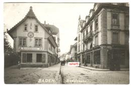 Switzerland Baden Badstrasse Real Photo Restaurants, Shops, Street Life, Horse Carriage Sent 1917 - AG Argovie