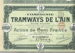 LOT  DE 8 ACTIONS - COMPAGNIE DES TRAMWAYS DE L'AIN -TTB - ANNEE 1906 - Chemin De Fer & Tramway