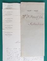 Pochette D'archives Commerciales - Cinq Documents - Maison W.H. Hoedt Fils à Rotterdam - Année 1898-1899 - Pays-Bas