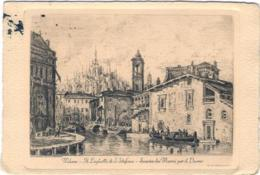 1955-Milano Il Laghetto Di Santo Stefano Scarico Dei Marmi Per Il Duomo, Viaggiata - Milano (Milan)