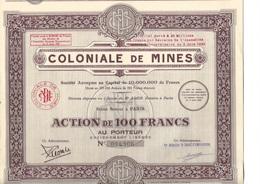 LOT  DE 4 ACTIONS  DE 100 FRS- COLONIALE DE MINES  ANNEE 1929  TTB - Mines