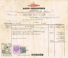 35662. Fiscal. Factura Compra Motocicleta BARCELONA 1953. Viñetas Moviles. REVENTA Al Dorso - Fiscales