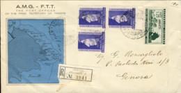 1952-Trieste A Lettera Raccomandata Affr. L.25 Fiera Del Levante Di Bari + Striscia A Seggiola L.25 Girolamo Savonarola - 7. Trieste