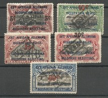 Ruanda Urundi COB 45/49 Série Complète MH / * 1922 Congo Belge Surchargés Et Cachet à Main TAXES - Ruanda-Urundi