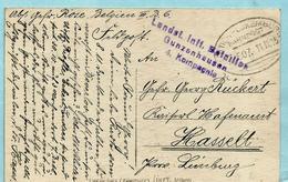 Postkaart LIEGE Feldpost, Ambulant LUTTICH-LUXEMBURG BAHNPOST 11/11/1915 ZUG 507 Naar Hasselt + Stempel ... - Weltkrieg 1914-18