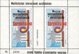 """1976-(MNH=**) Italia Foglietto Due Valori """"mostra Internazionale Aerofilatelica Serenissima '76 Venezia"""" - 1946-.. République"""