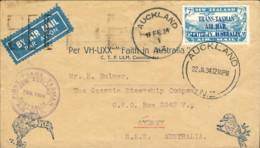 1934-Nuova Zelanda Aerogramma I Volo Nuova Zelanda-Australia Affr. Posta Aerea 7p.azzurro Lago Manapuori Soprastampato T - Airmail