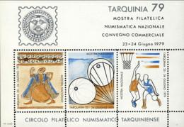 """1979-(MNH=**) Italia Foglietto 3 Valori """"Tarquinia '79 Mostra Filatelica Numismatica Nazionale Convegno Commerciale"""" (im - 6. 1946-.. Repubblica"""