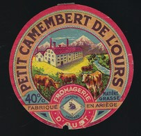"""étiquette Fromage Petit Camembert De L'ours 40%mg  Fromagerie D'Oust  Ariege 09 """" Vaches"""" - Formaggio"""