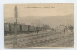 RARE CPA 1911 AIN AMBERIEU EN BUGEY ANIME INTERIEUR GARE TRAIN BE - Autres Communes