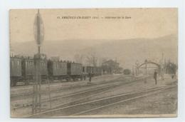 RARE CPA 1911 AIN AMBERIEU EN BUGEY ANIME INTERIEUR GARE TRAIN BE - France