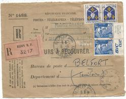 GANDON 15FR BLEU PAIRE PUB BIC + ECRIT +N°1005 PAIRE DEVANT LETTRE VALEURS A RECOUVRER DIJON 15.4.1955 AU TARIF - 1945-54 Marianne De Gandon