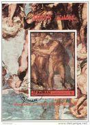 """Ajman 1972 Bf. 483A """"Giudizio Universale (Dettaglio : San Pietro)"""" Affresco Dipinto Michelangelo Paintings Sheet  Perf. - Religione"""