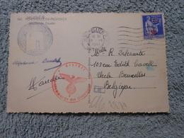 Cpa Cachet Censure Guerre 40-45 Cachet Montpellier R P Pour Bruxelles 1941 - Postmark Collection (Covers)
