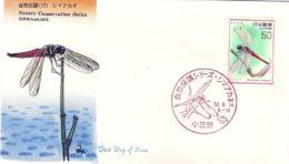 """1977-Giappone Japan S.1v.""""Protezione Della Natura,dragonfly - Libellula"""" Su Fdc Con Foglietto Illustrato Esplicativo - FDC"""