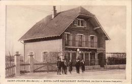 D74  SAINT JULIEN  HÔTEL CAFÉ RESTAURANT NATIONAL ( En Face La Douane Française )  ...... Carte Peu Courante - Saint-Julien-en-Genevois