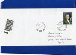 ##(DAN202)-2000 - L.4800 / € 2,48  Salieri Isolato Su Busta Raccomandata Per Santa Croce Sull'Arno-Pisa,1° Giorno D'uso - 6. 1946-.. Repubblica