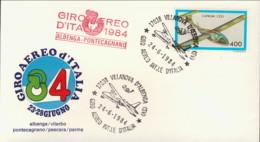 1984-aerogramma Giro Aereo Internazionale D'Italia 23-28 Giugno Tappa Albenga Pontecagnano - 6. 1946-.. Repubblica