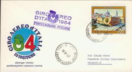 1984-aerogramma Giro Aereo Internazionale D'Italia 23-28 Giugno Tappa Pontecagnano Pescara - 6. 1946-.. Repubblica