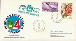 1984-aerogramma Giro Aereo Internazionale D'Italia 23-28 Giugno Tappa Viterbo Pontecagnano - 6. 1946-.. Repubblica
