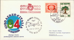 1984-San Marino Aerogramma Giro Aereo Internazionale D'Italia 23-28 Giugno Tappa Albenga Pontecagnano - Storia Postale