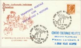 1980-aerogramma Mostra Filatelica Sportiva Velate Milanese Bollo Trasporto Postale Con Deltaplano A Motore - 1946-.. République