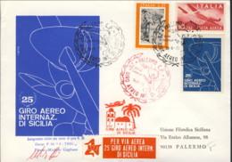 1973- Aerogramma Per Il XXV Giro Aereo Internazionale Di Sicilia Firma Del Pilota - 6. 1946-.. Repubblica